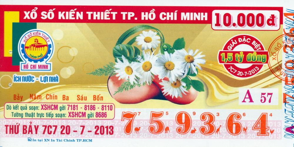 Mẫu vé số TP. HCM ngày 22/07/2013
